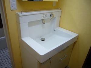 洗面ボールサイドは仮置きスペースで使えます