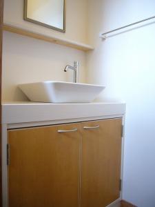 手洗いはオシャレな置き型の洗面ボールタイプに