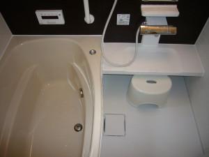 洗い場はカウンター式の収納浴槽はワンプッシュ式の排水栓