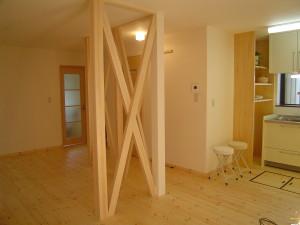 壁を取り払い一部屋するとき筋交いで補強する洋室リフォーム